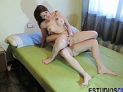 This horny couple decided to take it outside and on camera. The hot Latina busty babe takes a hard pounding and a load on her fine big booty.
