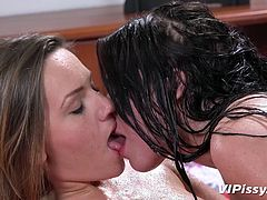 Two words cross my mind, that could describe best these two crazy lesbians: hot and horny. They are both naked and seem to share the same fetish for pissing. Passionate kisses and inciting pussy eating scenes are followed by pissing, so stay tunned, to find out the kinky details!