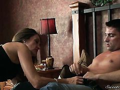 Brunette Tony Ribas cant resist the temptation to take guys throbbing boner in her love tunnel