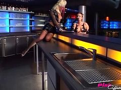 Girls at the fetish bar have latex lesbian foot sex