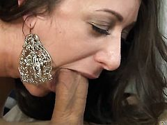 Brunette Delilah Blue with giant breasts makes mans sexual fantasies cum true