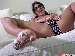 Compelling brunette was never happier to impale herself on the dick!
