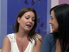 Avy Scott and Jelena Jensen knew each other from long back. They were college-mates and they met after long time. They teased, kissed, cuddled for some time, fondled each other's boobs and the session has lot more kinky activities. You are so unlucky, if you miss this video!!!