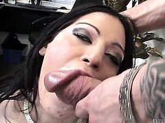 Domenic Kane gets down on her knees to gives headjob to handsome guy