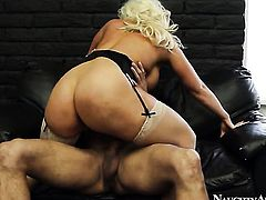 Blonde asian Alura Jenson with big bottom and smooth beaver is out of control with fresh sperm all over her face