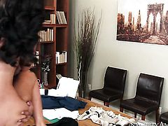 Brunette Whitney Westgate is on the way to orgasm with guys erect rod in her bush