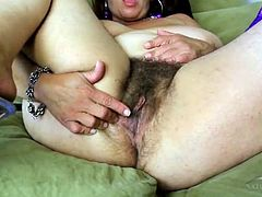 Fat hairy mature babe masturbates solo