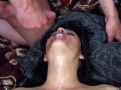 Holly opens her legs widely for all the horny men in the room. The slutty milf sucks dick with fervor and seems to enjoy using a kinky vibrator. One by one, the guys stuff their cocks in her crazy ass or cunt. Her face covered with creamy cum, this hot brunette seems to have an insatiable hunger for sex.
