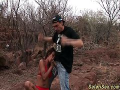 skinny african safari sex chick gets outdoor fucked in the savanne