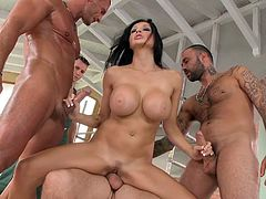 Visit official Hard X's HomepageBrunette diva with huge melons bends for more than one cock to blast her shaved pussy and ass in special scenes of dirty gangbang hardcore sex