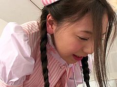She's got a pink bra under that sexy uniform, kinky white stockings and a lusty desire to play dirty with cock. The naughty Japanese babe with small nice tits and hairy cunt, gets on top to ride dick. Watch the inciting scenes!