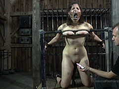 Marina was addicted to BDSM, but this painful session really tested all her abilities. Her soft boobs were tortured, while her master placed an electric vibrator on her clit. This pain slut was shackled and the dominant master used her in all the ways possible.