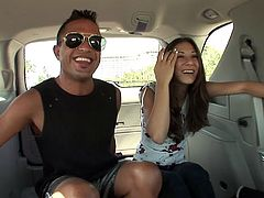 Hot ass brunette rides guy's tool in the back seat of a car