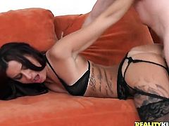 Piercings chicana Alby Rydes having oral fun with hard dicked dude