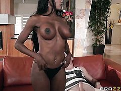 Milf chocolate Diamond Jackson with massive melons is good on her way to satisfy her bang buddy with her hot mouth