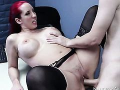 Tattoos asian Kelly Divine with big hooters and shaved bush is curious about hardcore fucking