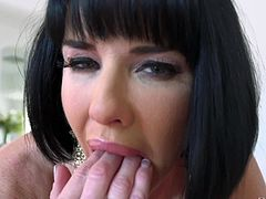Veronica Avluv has earned a reputation for being one of the sexiest milfs in porn. Even at 43 she can still deepthroat a cock better than anyone else. Her perfectly round tits are alluring, and the way she plays with her vagina is breathtaking. She always needs cock. She'll even finger her asshole.