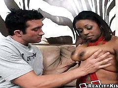 Piercings with huge melons and smooth pussy loves the way her fuck buddy moves his pole up and down inside her wet spot in steamy interracial action