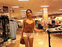 Halter top hottie shopping and flashing her small tits