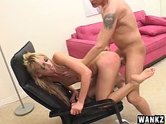 Butt fucked whore Kelly Wells sucks his dick clean