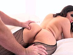 Erotic sex with Valentina is a sight to behold. The red lipstick accentuates her stunning, full lips. She teases her blindfolded lover, by running her fingers over his body. The Italian goddess deepthroats her man's cock and he licks her sweet ass and wet pussy.