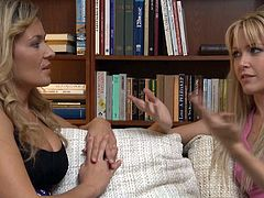 Beautiful blonde sapphic women talk about their kinks
