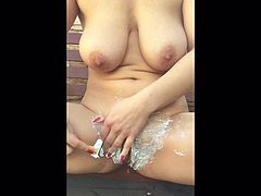 Huge Natural Boobs Outdoor Shaving Hairy Meaty Pussy