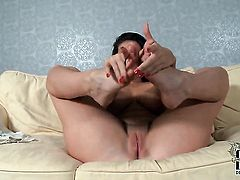 Paige Turnah is horny as hell and fucks herself with dildo with wild enthusiasm