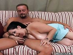 Brunette Bob with round booty and bald cunt sucks like a first rate hoe in steamy oral action with horny guy