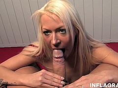 POV blowjob scene of hot German blonde babe Julie Hunter rubbing her big natural tits and sucking off a cock, swallowing it dry.