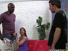 Natasha works her oral skills on the black doctor as her boyfriend's chastity belt only comes off so she can sock him in the nuts. Brutal, right???