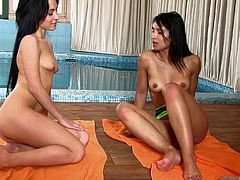 Two gorgeous black-haired lesbians and their arousing adventure