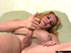 This blonde tranny likes getting down and dirty and playing up her feminine side. Carla Mel is a cute and playful shemale with nice firm tits, a tight bum and a long shecock. She looks very hot...