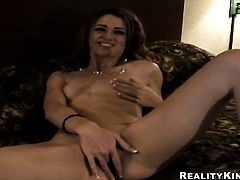 Brunette Jessica Young gets her throat attacked by guys sturdy pole