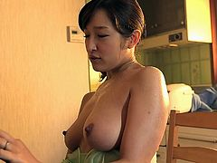 My aunt Yuuko is a real slut. I was feeling bored at home, so she opened her bra to entertain me. She rubbed her breast on my face and asked me to suck her milk. She got on knees and sucked my dick balls deep. After that, I fucked her in cowgirl position.