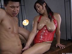Miyabe was standing nude in the basement, waiting for a horny man to fuck her hard. She massaged his cock gently and asked him to put fingers in her pussy. He fucked her ass hole on desk from behind. After that, he penetrated her pussy in reverse cowgirl position.