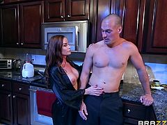 43 year old milf Diamond, pours cream all over her boobs and makes her man lick it off of her. The big breasted lady drops to her knees in the kitchen, to suck on her man's cock late at night. She wants some cum to go with that cream.