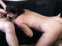 Vanessa Videl gets face stuffed by mans rock solid meat pole