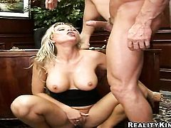Blonde Ana Nova with massive boobs and smooth twat asks hot guy to insert his love stick in her mouth