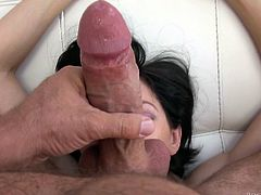 Slutty Erian takes off her clothes for horny Rocco. Then, the playful slim brunette unzips his pants and starts sucking dick and balls, with fervor. Click to watch the bitch getting dirty, in front of a mirror.