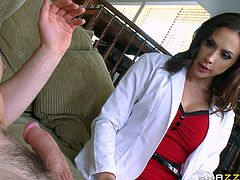 A hot milf with big wonderful tits is eager to please her partner. She wears a doctor's uniform, which makes her even more attractive. Click to watch the provocative brunette, sucking dick with fervor and riding it as a reverse cowgirl!