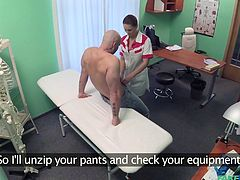 This nurse was feeling horny, after seeing the big dick of patient. She got on knees and put his dick in mouth. She removed her clothes, pressed his dick between breasts, laid down of table and he licked her wet pussy. Then he fucked her from behind.