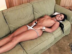 Angel Pink with small tities and shaved twat cant stop masturbating