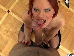 Sexy redhead Masha, is all about some sex, especially with a big dick. She finds out about this guy and she wears her special outfit, to excite him. After getting on her knees, she stretches her mouth, to fit his thick cock in it.