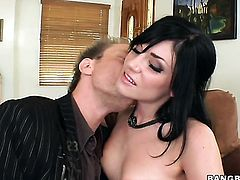 Brunette gets her throat fucked to death by hot man