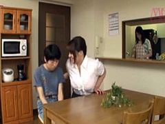 Japanese Busty Tutor seduces her geek Student