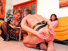 Submissive naked guys dominated by two clothed girls