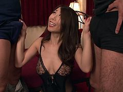 Ayumi is a hot and sexy milf with big breast. She was fucked by step-son and his friends in a gangbang. She slipped her lingerie down, rubbed cocks on her large melons and pressed them between her tits. She was fingered by step-son from behind, while his friends were sucking her nipples.