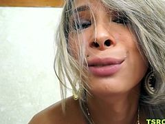 Playful and very feminine Brazilian transsexual Bianca Hills gives a perfect blowjob and gets her sexy ass fucked bareback.