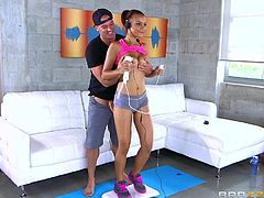 This redhead bitch with nice tits and crazy body is determined to do her exercise, in order to keep fit... But when her horny lover gets closer and stuffs his dick in her tight cunt, slutty Raven is intrigued and pleased in the same time. Click to watch her sucking cock with fervor!